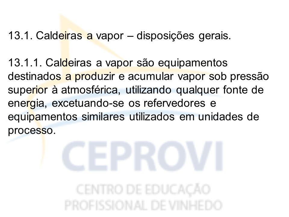 13.1. Caldeiras a vapor – disposições gerais.