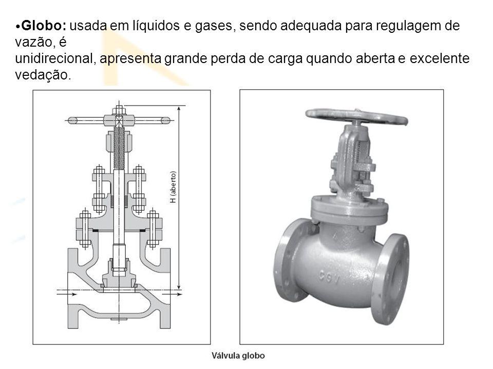•Globo: usada em líquidos e gases, sendo adequada para regulagem de vazão, é