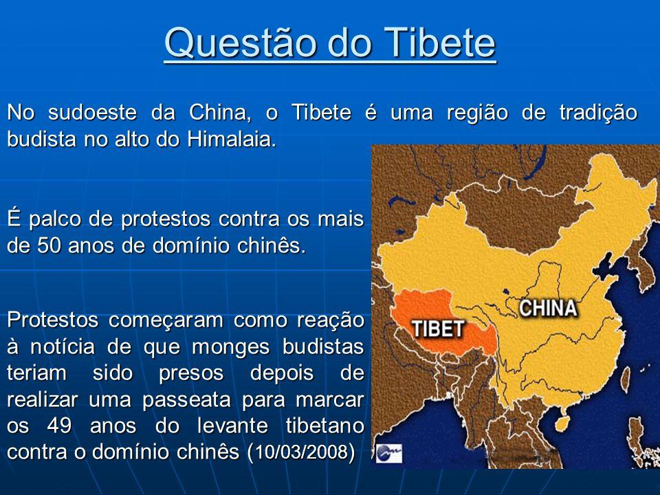 Questão do Tibete No sudoeste da China, o Tibete é uma região de tradição budista no alto do Himalaia.