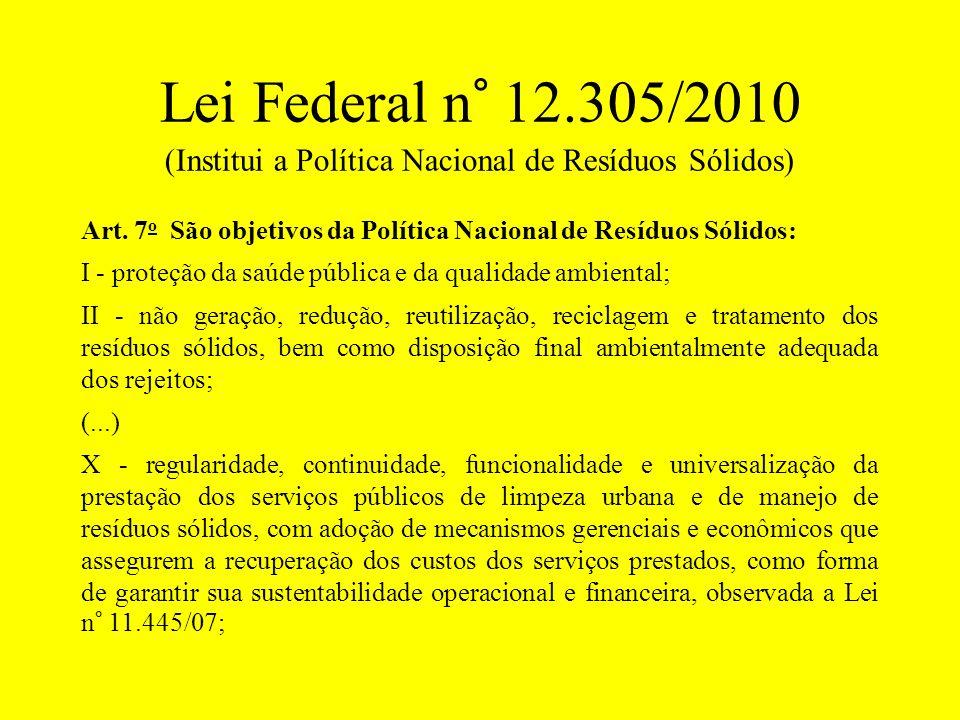 Lei Federal n° 12.305/2010 (Institui a Política Nacional de Resíduos Sólidos)