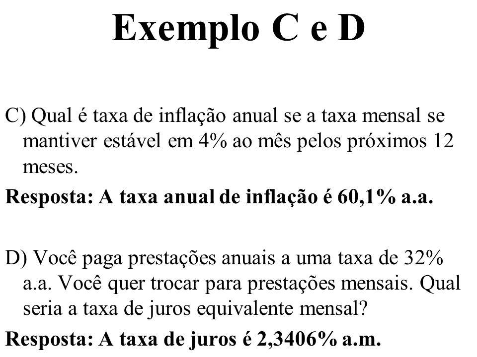 Exemplo C e D C) Qual é taxa de inflação anual se a taxa mensal se mantiver estável em 4% ao mês pelos próximos 12 meses.