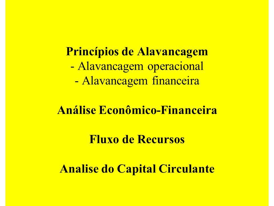 Princípios de Alavancagem - Alavancagem operacional - Alavancagem financeira Análise Econômico-Financeira Fluxo de Recursos Analise do Capital Circulante