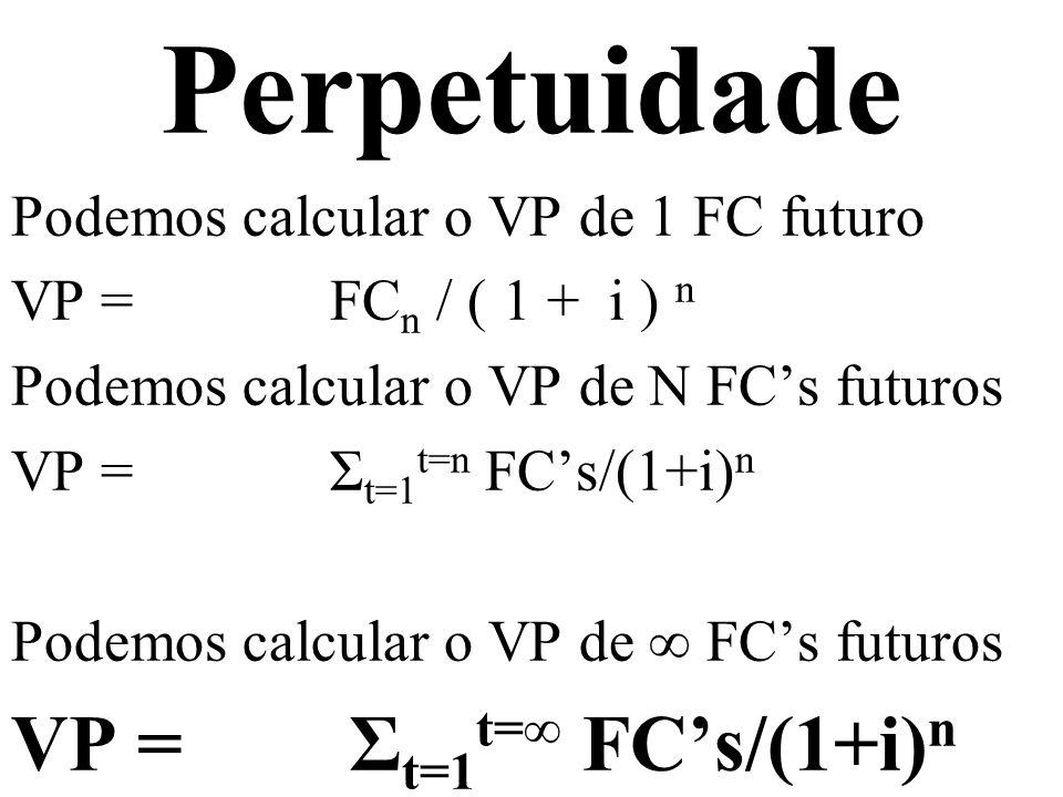 Perpetuidade VP = Σt=1t=∞ FC's/(1+i)n