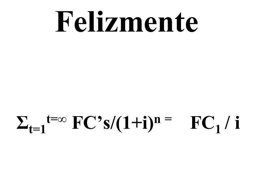Σt=1t=∞ FC's/(1+i)n = FC1 / i