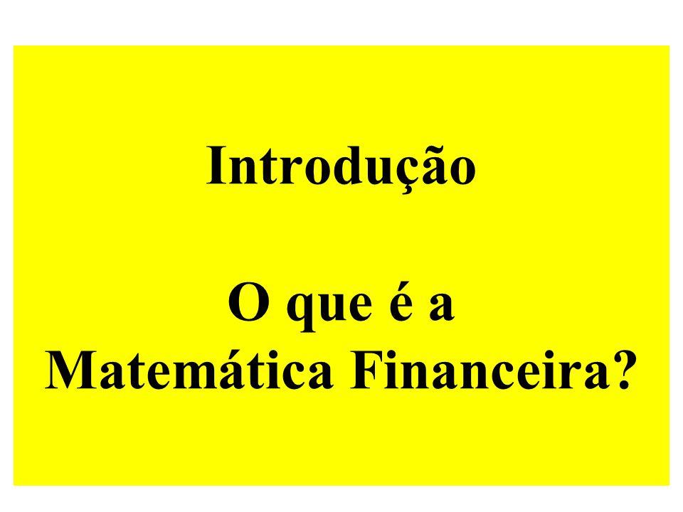 Introdução O que é a Matemática Financeira