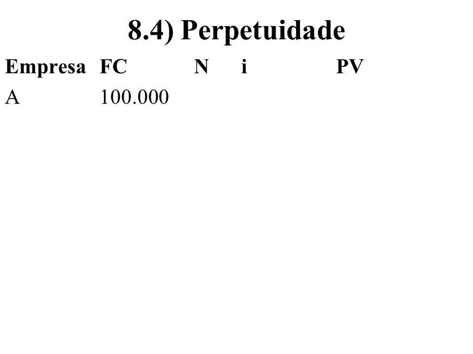 8.4) Perpetuidade Empresa FC N i PV A 100.000