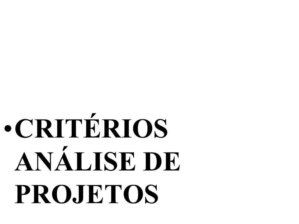 CRITÉRIOS ANÁLISE DE PROJETOS