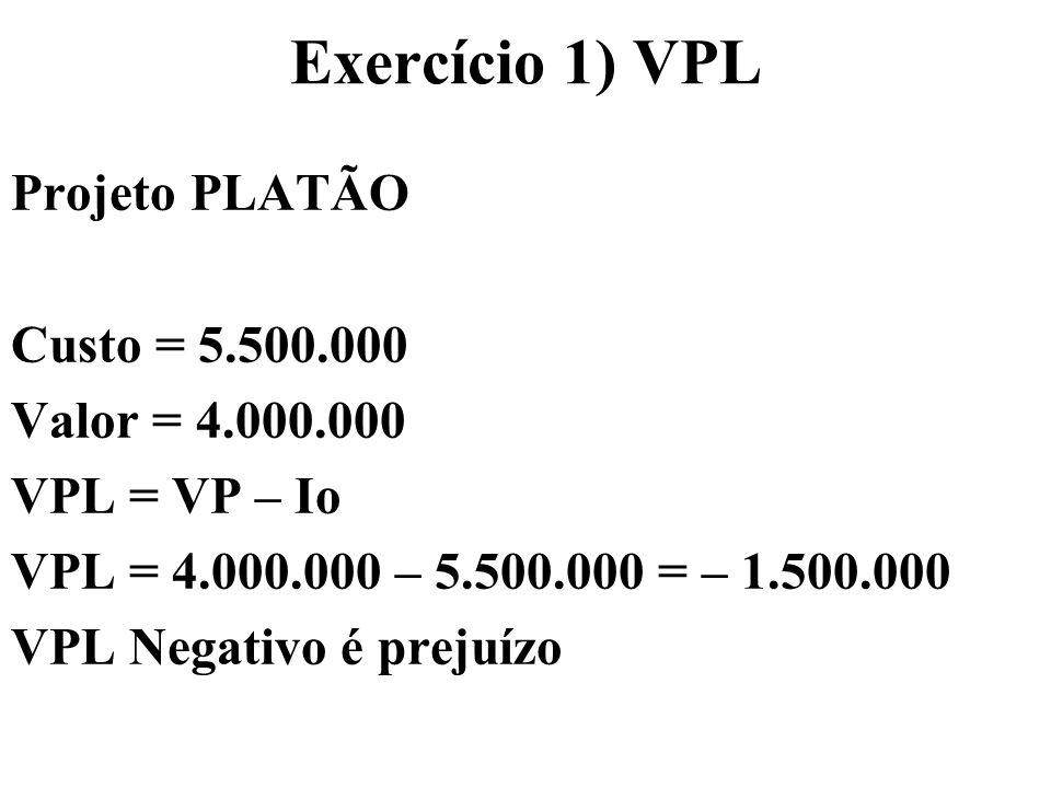 Exercício 1) VPL Projeto PLATÃO Custo = 5.500.000 Valor = 4.000.000
