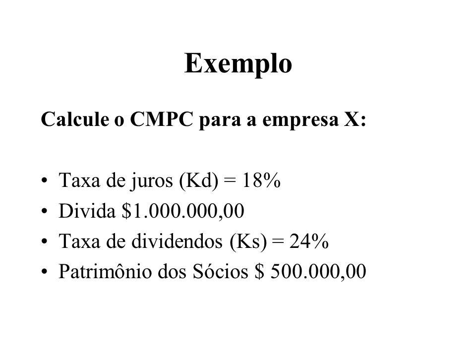 Exemplo Calcule o CMPC para a empresa X: Taxa de juros (Kd) = 18%