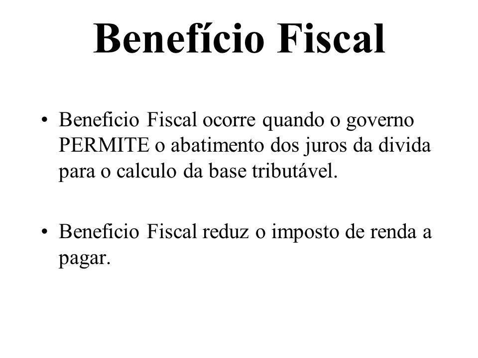 Benefício Fiscal Beneficio Fiscal ocorre quando o governo PERMITE o abatimento dos juros da divida para o calculo da base tributável.