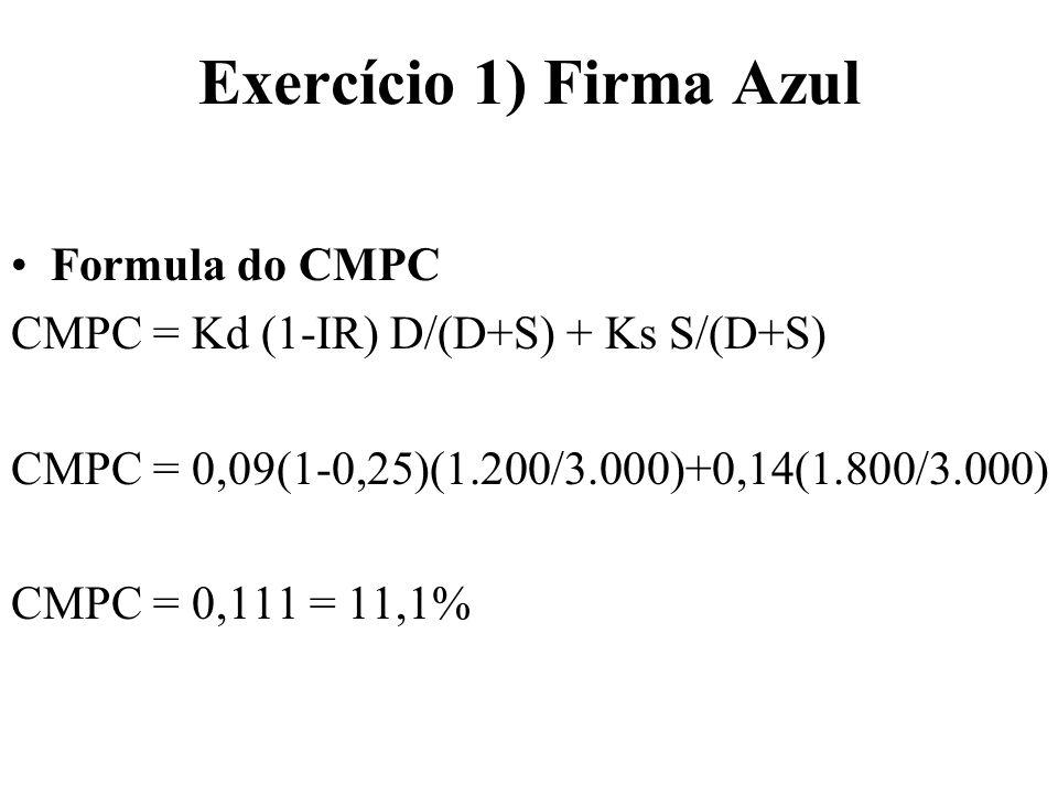 Exercício 1) Firma Azul Formula do CMPC