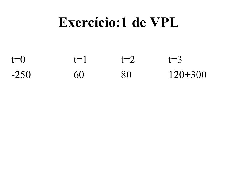 Exercício:1 de VPL t=0 t=1 t=2 t=3 -250 60 80 120+300