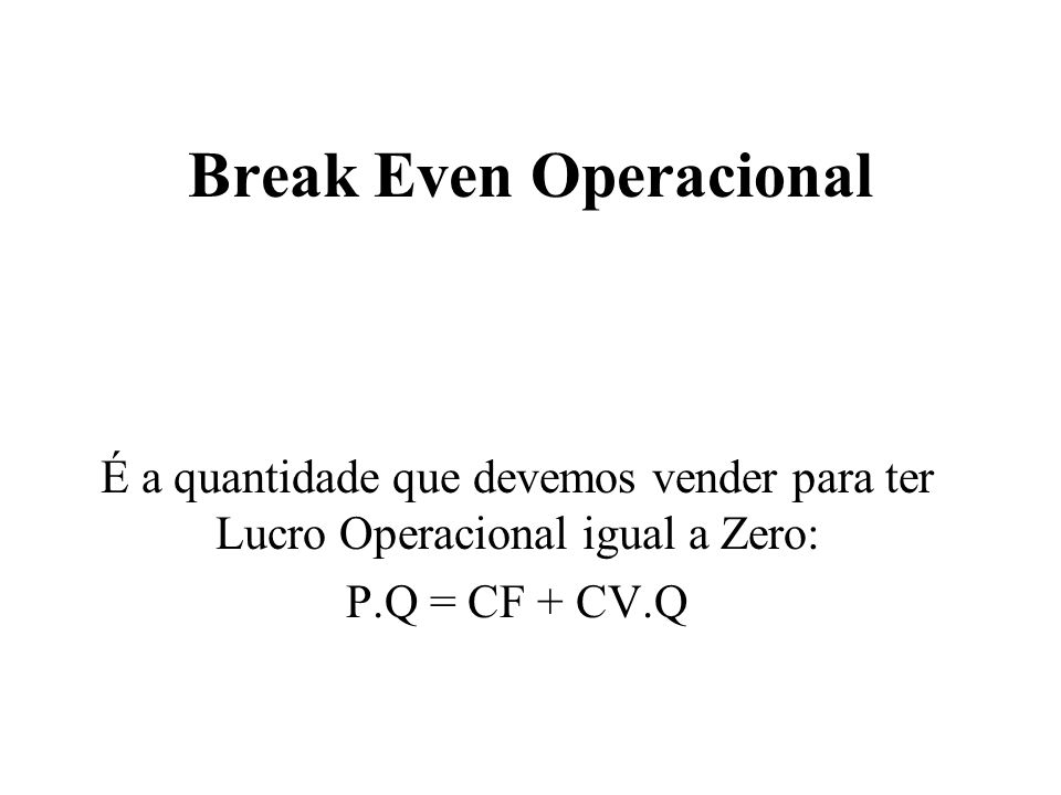 Break Even Operacional