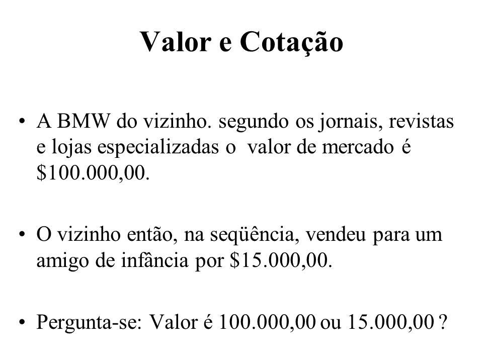 Valor e Cotação A BMW do vizinho. segundo os jornais, revistas e lojas especializadas o valor de mercado é $100.000,00.