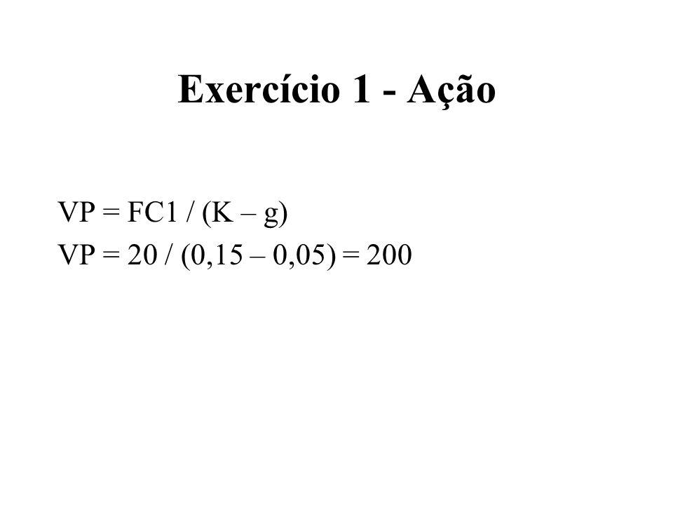 Exercício 1 - Ação VP = FC1 / (K – g) VP = 20 / (0,15 – 0,05) = 200
