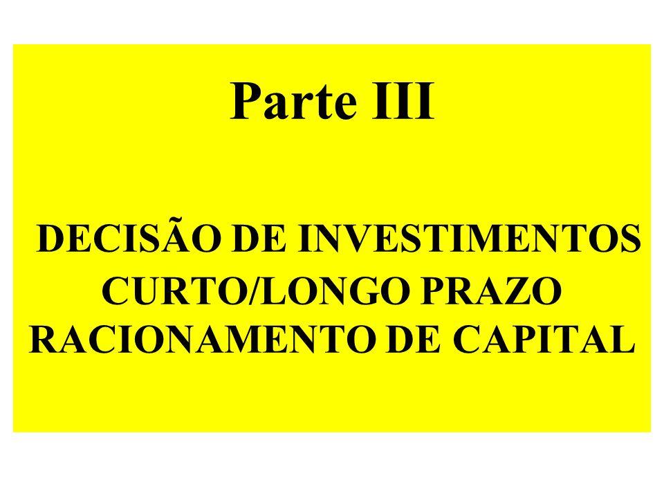 Parte III DECISÃO DE INVESTIMENTOS CURTO/LONGO PRAZO RACIONAMENTO DE CAPITAL