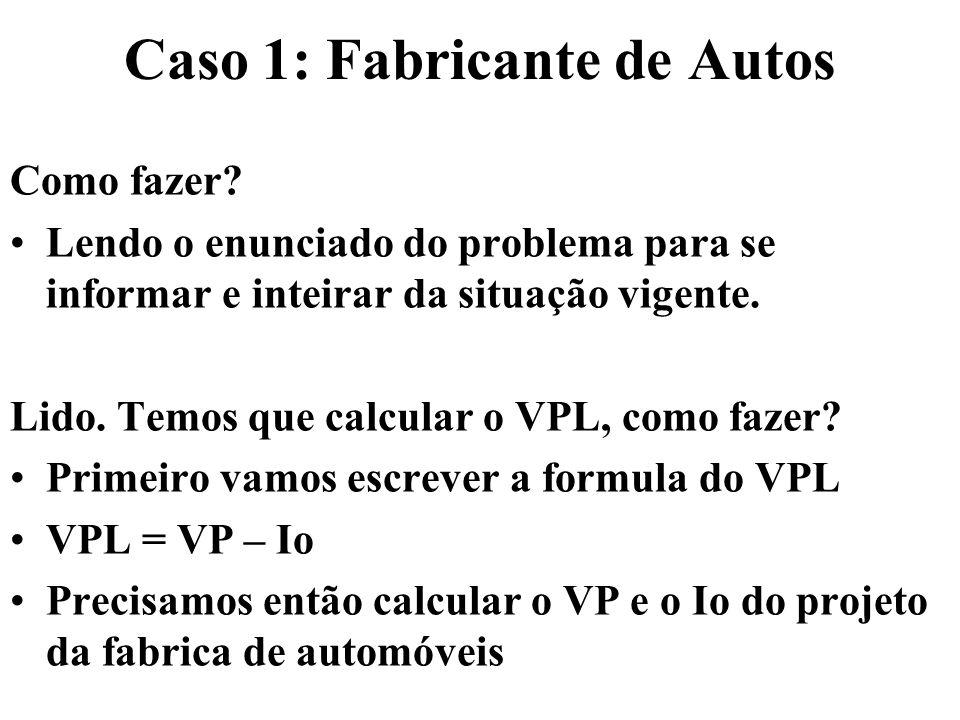 Caso 1: Fabricante de Autos