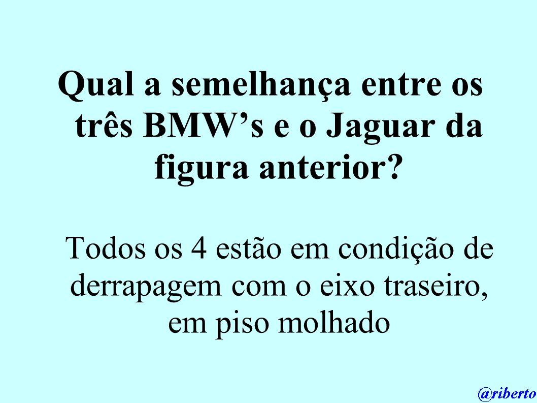 Qual a semelhança entre os três BMW's e o Jaguar da figura anterior
