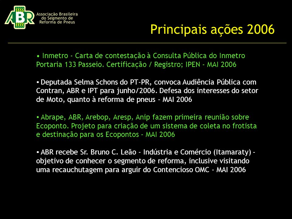Principais ações 2006 • Inmetro - Carta de contestação à Consulta Pública do Inmetro Portaria 133 Passeio. Certificação / Registro; IPEN - MAI 2006.