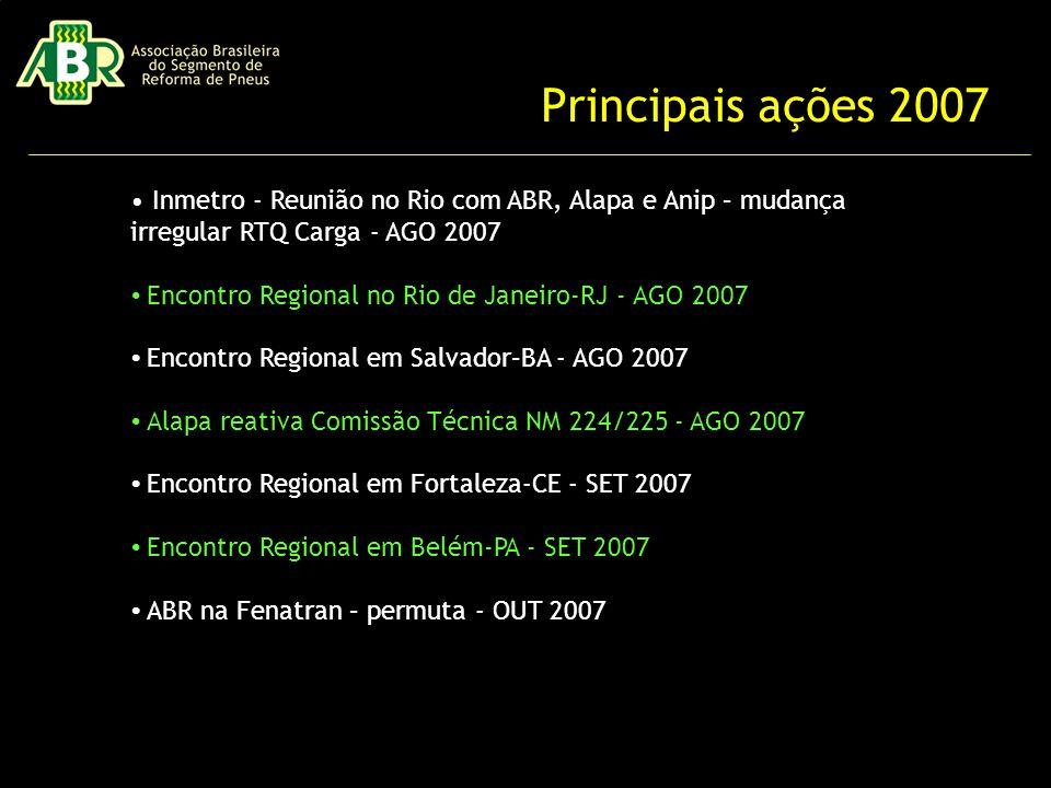 Principais ações 2007 • Inmetro - Reunião no Rio com ABR, Alapa e Anip – mudança irregular RTQ Carga - AGO 2007.