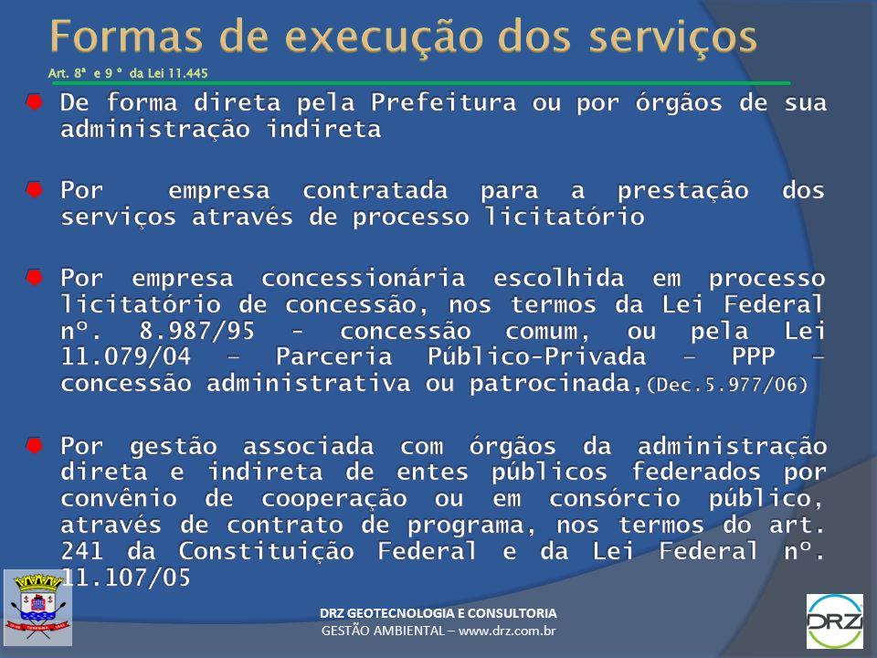 Formas de execução dos serviços Art. 8ª e 9 º da Lei 11.445