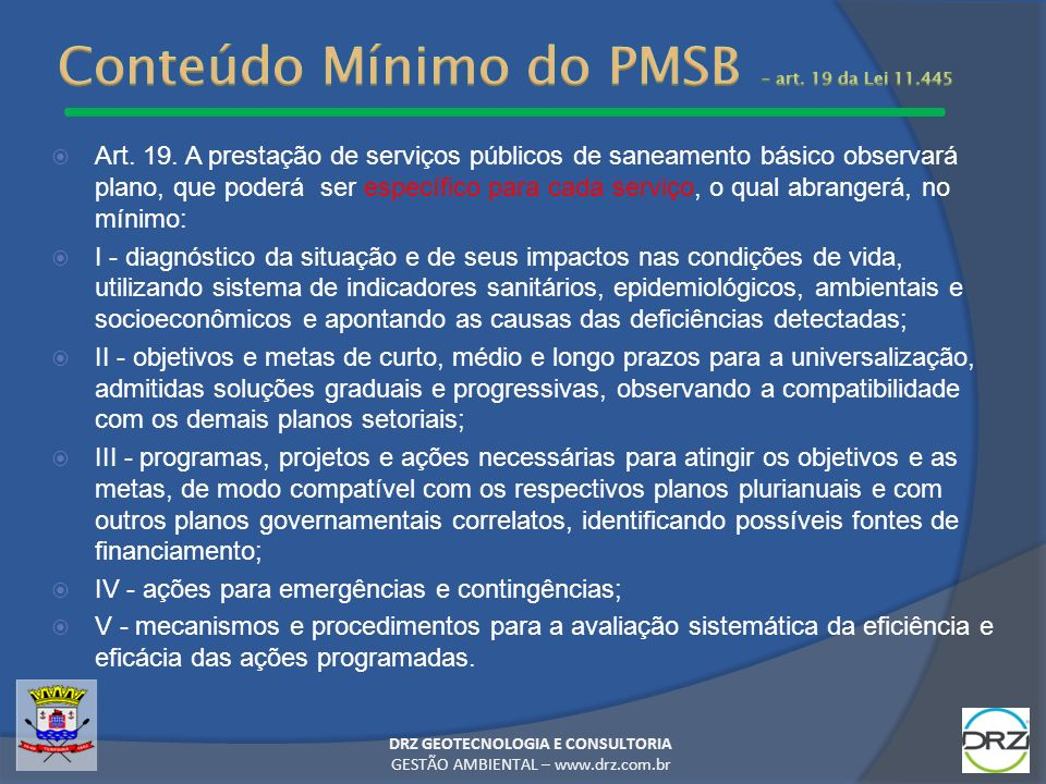 Conteúdo Mínimo do PMSB – art. 19 da Lei 11.445