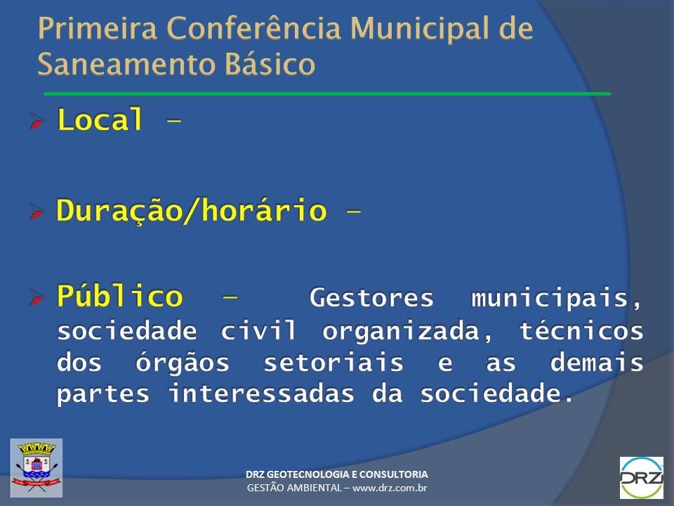 Primeira Conferência Municipal de Saneamento Básico