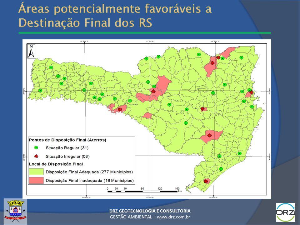 Áreas potencialmente favoráveis a Destinação Final dos RS