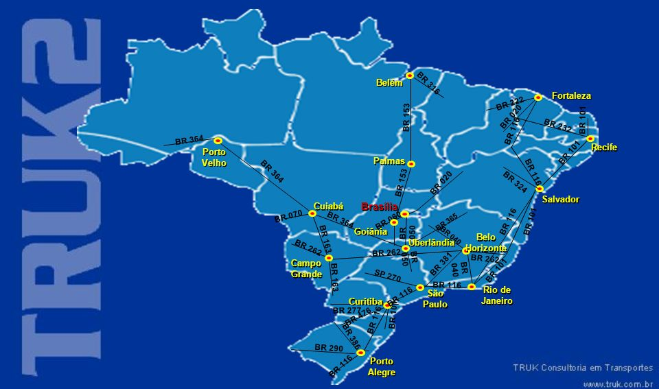 Brasília Belém Fortaleza Recife Porto Velho Palmas Salvador Cuiabá