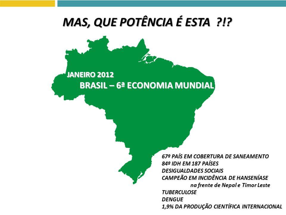 MAS, QUE POTÊNCIA É ESTA ! JANEIRO 2012 BRASIL – 6ª ECONOMIA MUNDIAL