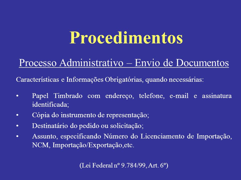Processo Administrativo – Envio de Documentos