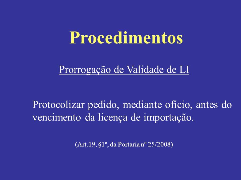 Procedimentos Prorrogação de Validade de LI