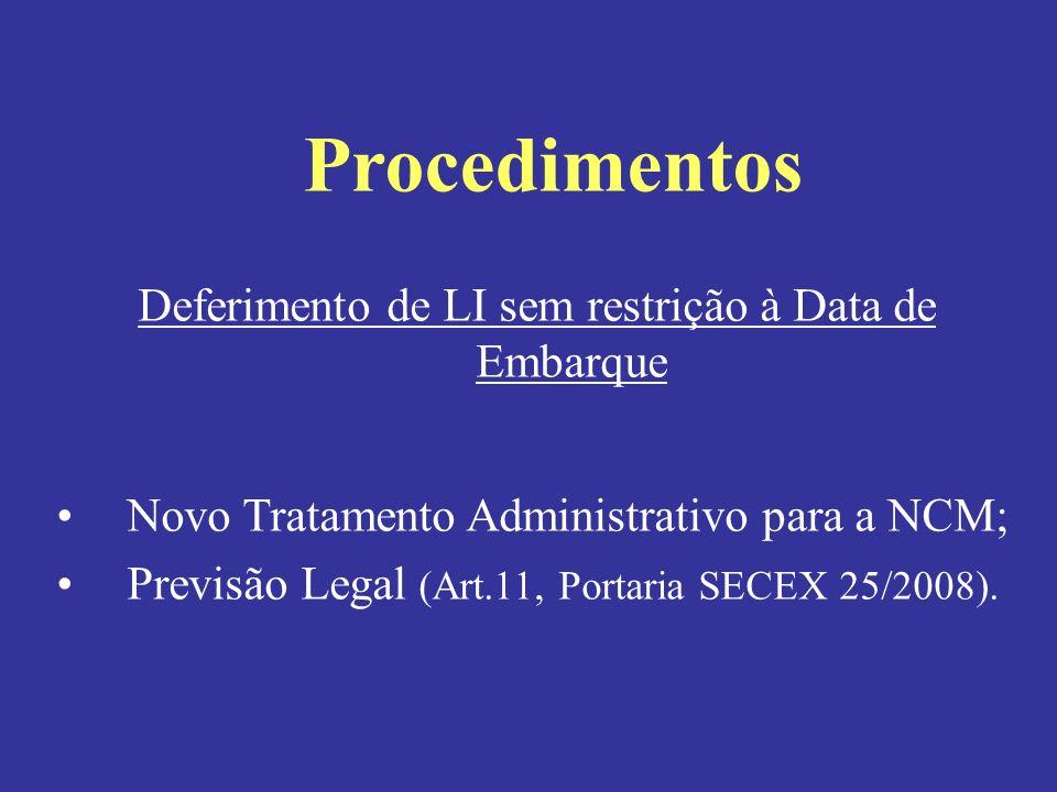 Deferimento de LI sem restrição à Data de Embarque
