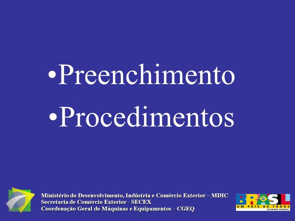 Preenchimento Procedimentos