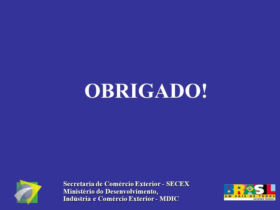 OBRIGADO! Secretaria de Comércio Exterior - SECEX