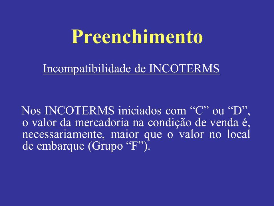 Incompatibilidade de INCOTERMS