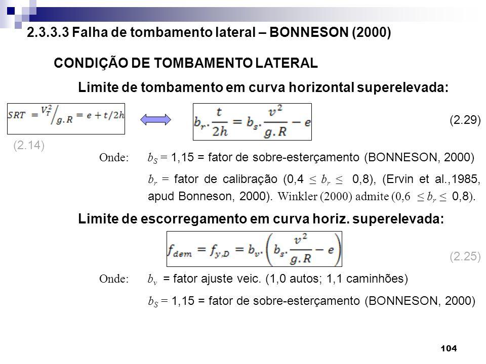 2.3.3.3 Falha de tombamento lateral – BONNESON (2000)