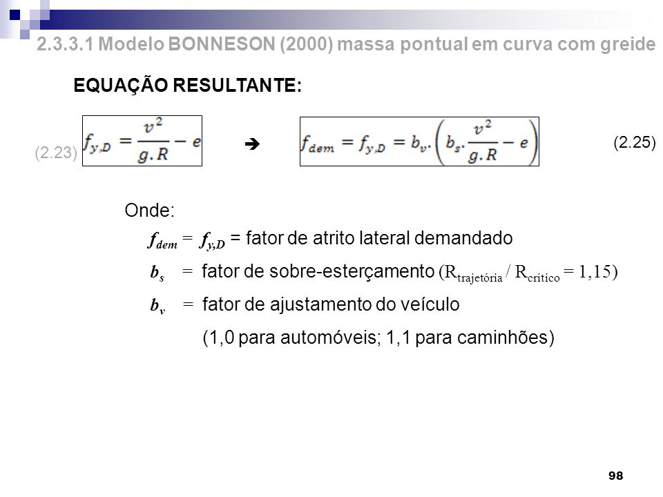 2.3.3.1 Modelo BONNESON (2000) massa pontual em curva com greide