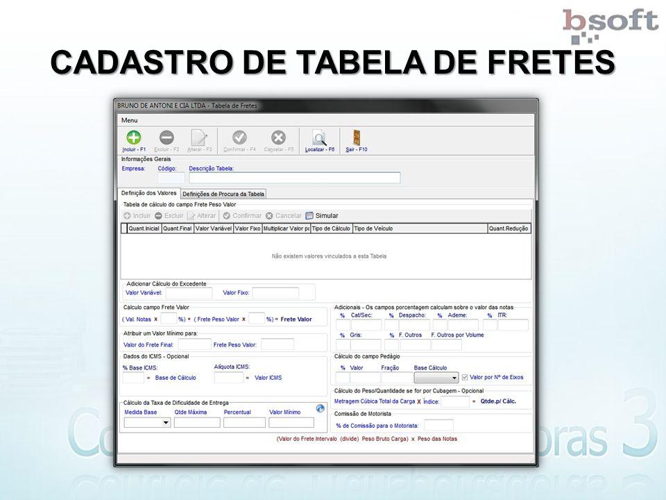 CADASTRO DE TABELA DE FRETES