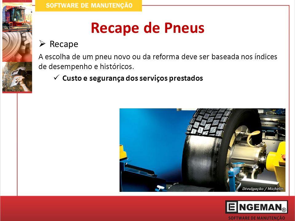 Recape de Pneus Recape. A escolha de um pneu novo ou da reforma deve ser baseada nos índices de desempenho e históricos.