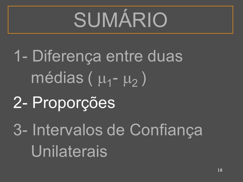 SUMÁRIO 1- Diferença entre duas médias ( 1- 2 ) 2- Proporções
