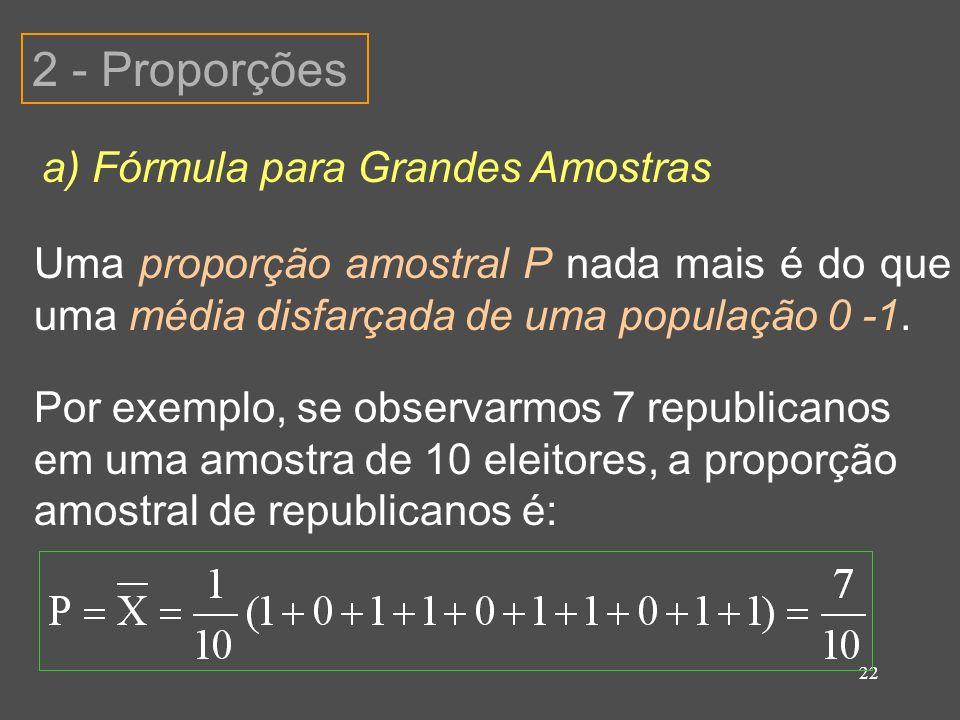 2 - Proporções a) Fórmula para Grandes Amostras