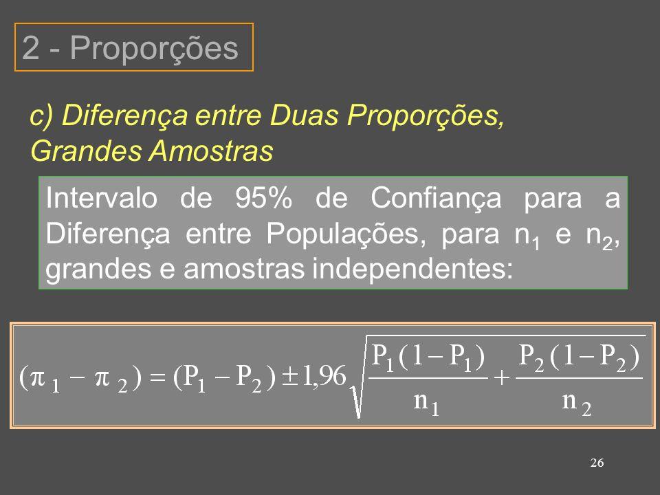 2 - Proporções c) Diferença entre Duas Proporções, Grandes Amostras