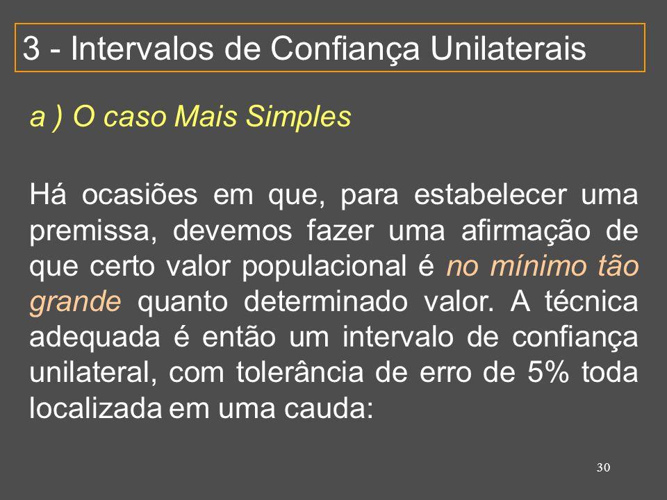 3 - Intervalos de Confiança Unilaterais