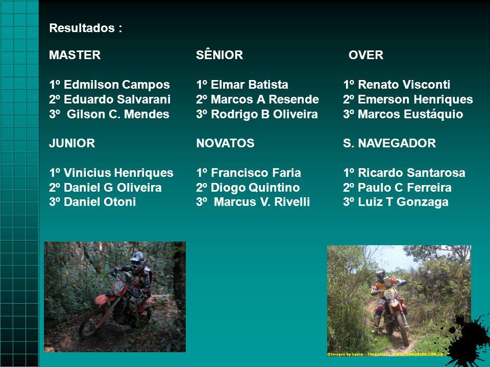 Resultados : MASTER SÊNIOR OVER. 1º Edmilson Campos 1º Elmar Batista 1º Renato Visconti.