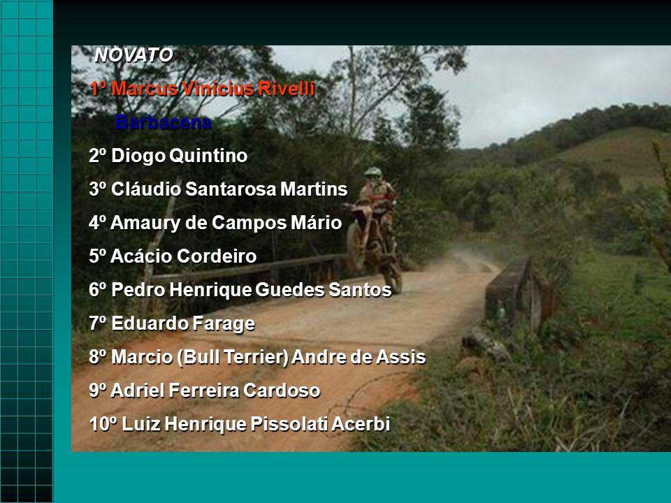 NOVATO 1º Marcus Vinicius Rivelli. Barbacena. 2º Diogo Quintino. 3º Cláudio Santarosa Martins. 4º Amaury de Campos Mário.