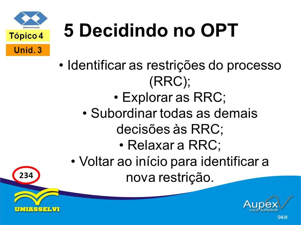 5 Decidindo no OPT Identificar as restrições do processo (RRC);