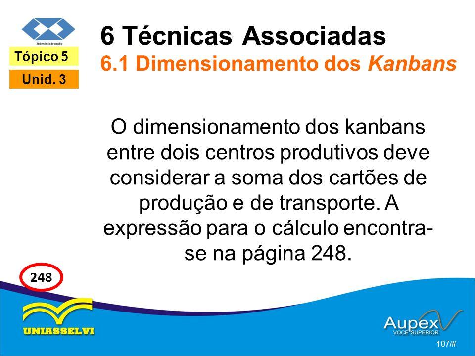 6 Técnicas Associadas 6.1 Dimensionamento dos Kanbans