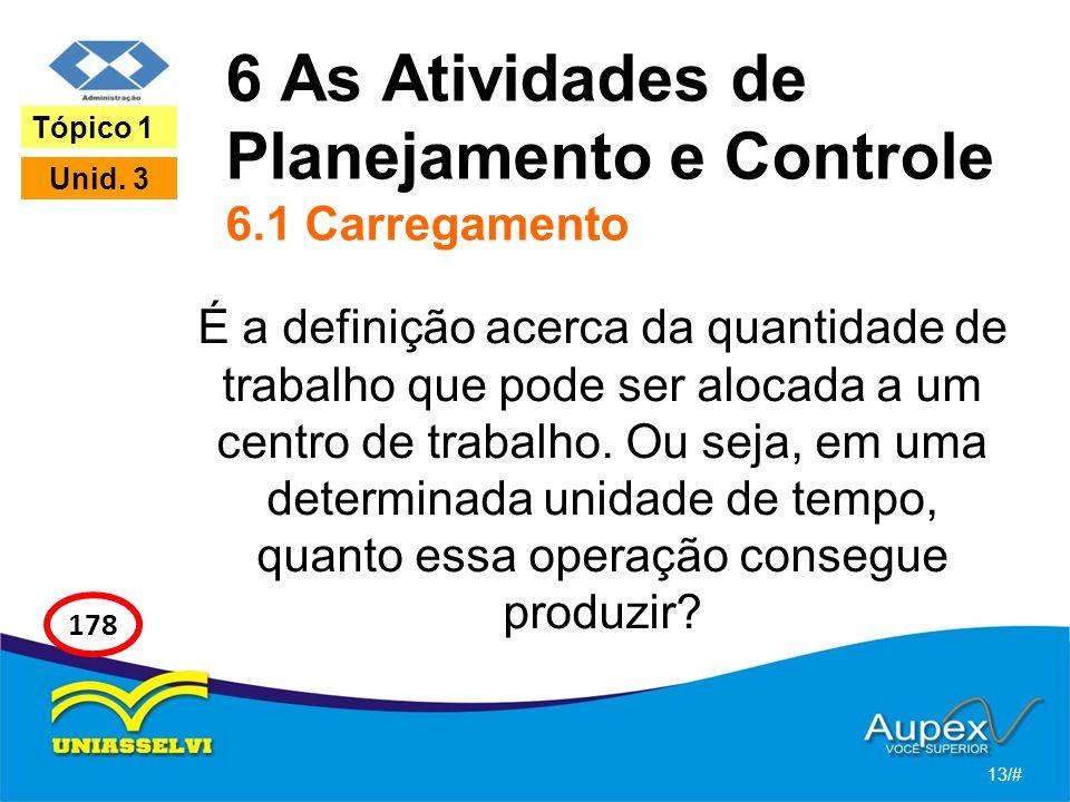 6 As Atividades de Planejamento e Controle 6.1 Carregamento