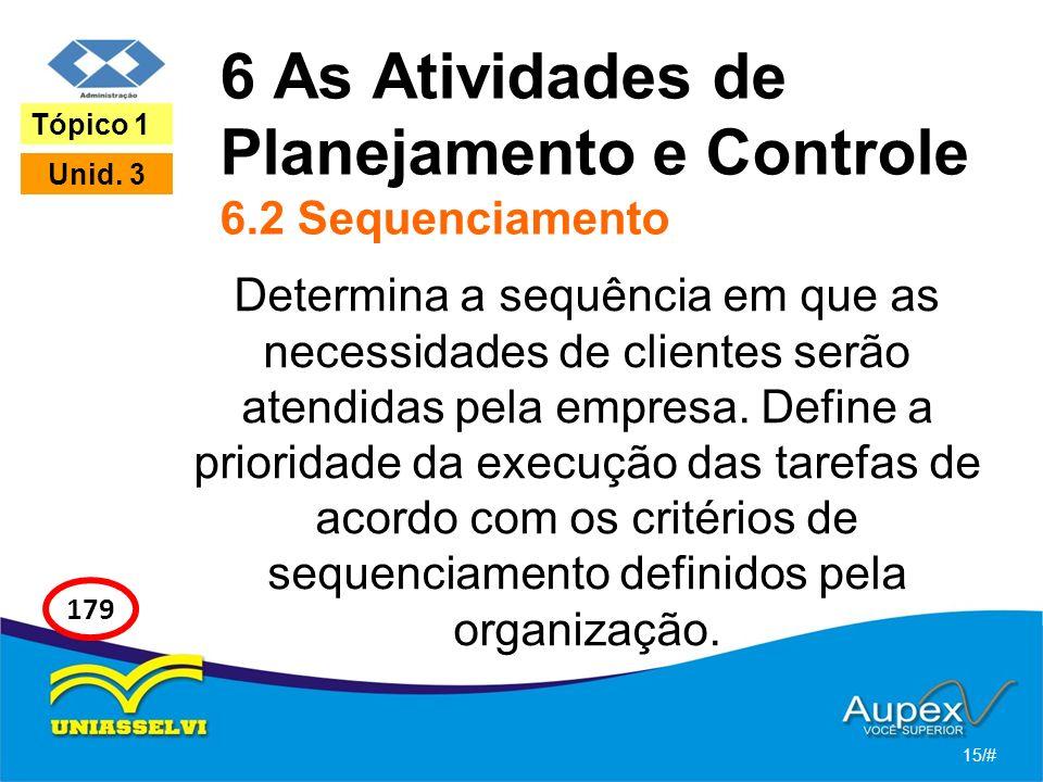 6 As Atividades de Planejamento e Controle 6.2 Sequenciamento